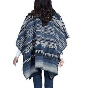 Woolrich Reversable Blanket Wrap Blue Aztec OS